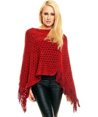 LM moda Poncho, pončo červené jednobarevné elegantní s třásněmi