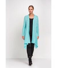 Pletený dámský kabátek Makadamia S29 tyrkysový