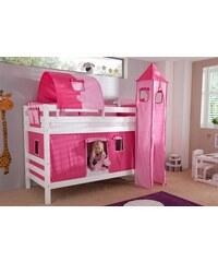 Kinder RELITA Einzel-/Etagenbett Set 4-tlg. pink, Herz