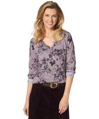 Damen Langarmshirt in Crinkle-Qualität allover bedruckt Cheer rosa 34,36,38,40,42,44,46,48