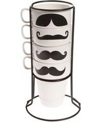 Sada hrnků Moustache s držáčkem