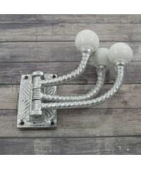Kovový věšák Antik Silver Porcelain Mahé Knobs