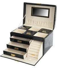 Kufřík na šperky Monako, černá krokodýlí kůže