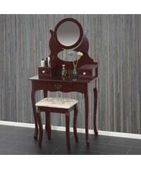 Toaletní stolek se stoličkou Creil, hnědý