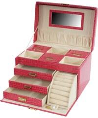 Kufřík na šperky Monako, růžová krokodýlí kůže