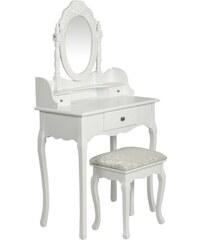 Bílý toaletní stolek se stoličkou a zrcadlem