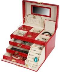 Kufřík na šperky Monako, červená krokodýlí kůže