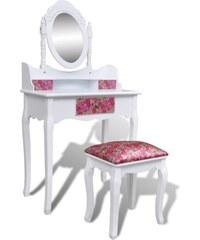 Toaletní stolek se stoličkou a zrcadlem Flowers