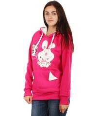 TopMode Hřejivá mikina s obrázkem a ušima na kapuci růžová