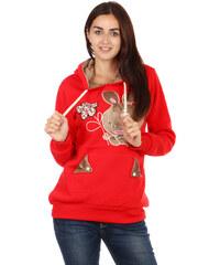 TopMode Hřejivá mikina s obrázkem a ušima na kapuci červená