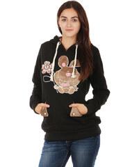 TopMode Hřejivá mikina s obrázkem a ušima na kapuci černá