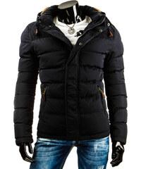 streetIN Prošívaná pánská bunda s kapucí s kožíškem - černá Velikost: S