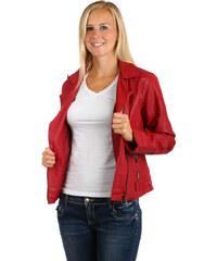 TopMode Krásná koženková bundička se zipem na straně červená