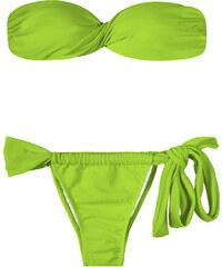 Rio De Sol Bikini Bandeau Vert Clair, Bas Réglable Avec Noeud - Jureia Torcido Lace