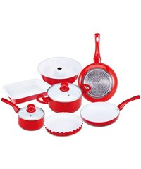 Sada nádobí s keramickým povrchem 9 ks, červená RENBERG RB-1245cerv