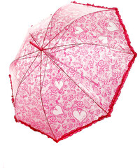 TopMode Romantický vystřelovací deštník s volánky na okraji růžová