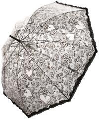 TopMode Romantický vystřelovací deštník s volánky na okraji černá