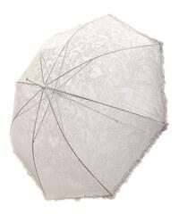 TopMode Romantický vystřelovací deštník s volánky na okraji bílá
