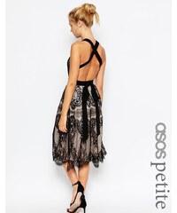 ASOS PETITE Premium - Robe de bal de fin d'année mi-longue en dentelle à franges - Noir