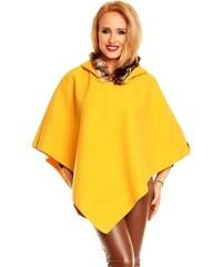 Made in Italy Poncho, pončo žluté s kapucí