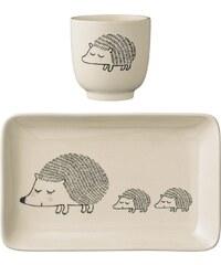 Bloomingville Tácek s kalíškem pro děti Hedgehog - set 2 ks