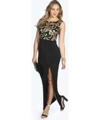 BOOHOO Černé šaty se zlatým zdobením