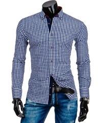 streetIN Modrá kostkovaná pánská košile s vyztuženými lokty Velikost: M