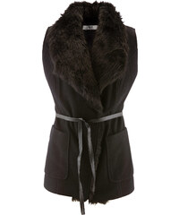 bpc bonprix collection Gilet sans manches avec imitation fourrure et ceinture noir femme - bonprix