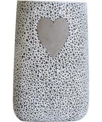 StarDeco Váza se srdcem - cement 24 cm