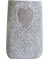 StarDeco Váza se srdcem - cement 20 cm