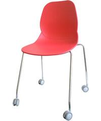 StarDeco Červená židle + kolečkové nohy