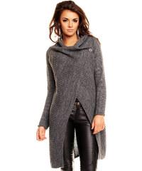 Dlouhý dámský pletený svetr / pončo Lacomy - šedý