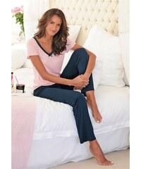 Edler Pyjama mit gepunktetem Shirt & Spitzenkante Lascana rosa 32/34,36/38,40/42,44/46