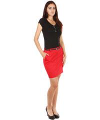 TopMode Elegantní jemně puntíkovaná sukně červená