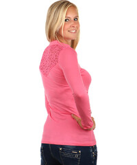 TopMode Úžasné tričko s dlouhým rukávem a krajkou na zádech růžová
