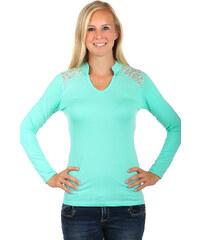 TopMode Úžasné tričko s dlouhým rukávem a krajkou na zádech zelená