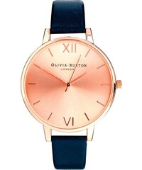 Olivia - Burton - Armbanduhr in Marineblau mit großem Zifferblatt in Roségold - Marineblau