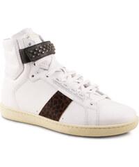 Baskets montantes Saint Laurent homme en cuir blanc