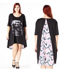 Lesara T-Shirt-Kleid mit Metallic-Print - Schwarz - S