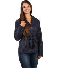 TopMode Dámský kabátek na knoflíky a s páskem v pase tmavě modrá