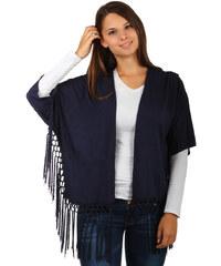 TopMode Netradiční cardigan s 3/4 rukávy a třásněmi na koncích tmavě modrá
