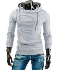 streetIN Pánská mikina s kapucí, zipem a kapsou – světle šedá Velikost: S