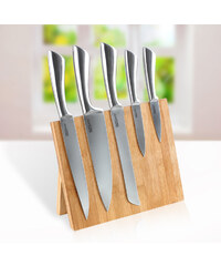 Lesara Ensemble 6 pièces avec couteaux magnétiques et bloc en bambou