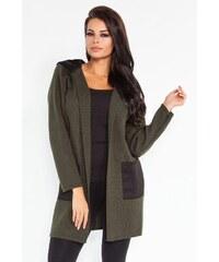 Dámský pletený kabátek Fobya F211 olivový