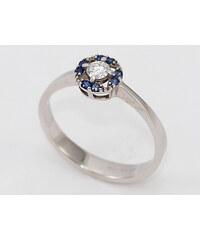 Bohemia Brilliant Zlatý prsten s diamantem a safíry z bílého zlata - 147 (Au585) vel. 50