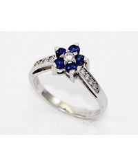 Bohemia Brilliant Zlatý prsten z bílého zlata s diamanty a safíry - 013 (Au750) vel. 50