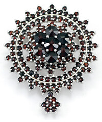 Bohemia Garnet Stříbrná granátová brož / přívěsek - 230 (rhodiovaná)