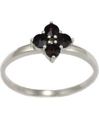 Bohemia Garnet Stříbrný granátový prsten - 296I, (rh) vel. 48