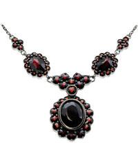 Bohemia Garnet Stříbrný granátový náhrdelník - 515 (rutheniovaný)