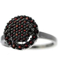 Bohemia Garnet Stříbrný granátový prsten - 038I, (rt) vel. 50